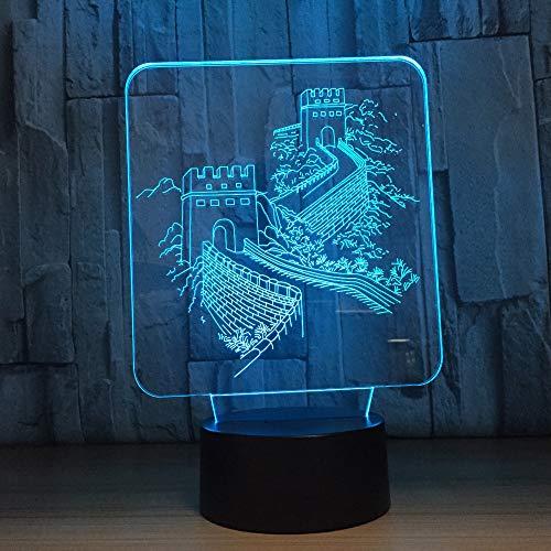 Chinese muur gebouwde 3D nachtlampje LED illusie lamp met 7 kleuren wijzigen en afstandsbediening - verjaardag en kerstcadeau voor kinderen bedlampje slaapkamerdecoratie