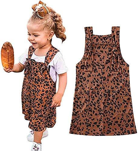 Chloefairy Latzrock Kinder Baby Mädchen Latzkleid Sommer Minikleid Ärmellos Trägerkleid Leopard Muster Kleid Sommer Festlich Hochzeit Outfits (Leopard Muster, 1-2 Jahre)