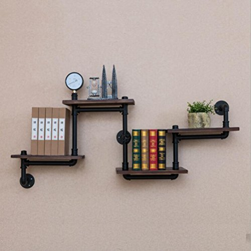 Shelves DUO boekenkast, industrieel ijzeren buis-rek klem-muur bevestigd zich heen en weer beweegbare wand-DIY decoratieve buisrekken 100 * 20 * 68 cm hangrek,
