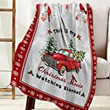 Christmas Flannel Fleece Blanket Luxury Holiday Blanket, This is My Christmas Movie Watching Blanket Red Truck Xmas Tree Cardinals Throw Blankets for Bed Couch Sofa 40'x50' Soft Plush Warm Blankets
