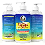 100% Pure Wild Caught Alaskan Salmon Fish Oil for Dogs, Cats & Horses, Ethically Sourced Premium Pure Potency EPA & DHA Omega 3 & 6 Fatty Acids, Promotes Glossy Coat, Immune Support, Hip & Joint 16 oz