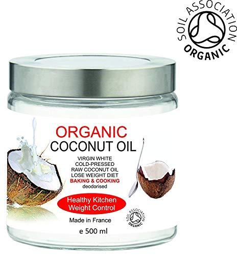 BIO Huile de Noix de Coco Extra Vierge Organique 500 ml 100% Pure, sans odeur Hydratant Facial - Corps - Cheveux Première pression à froid