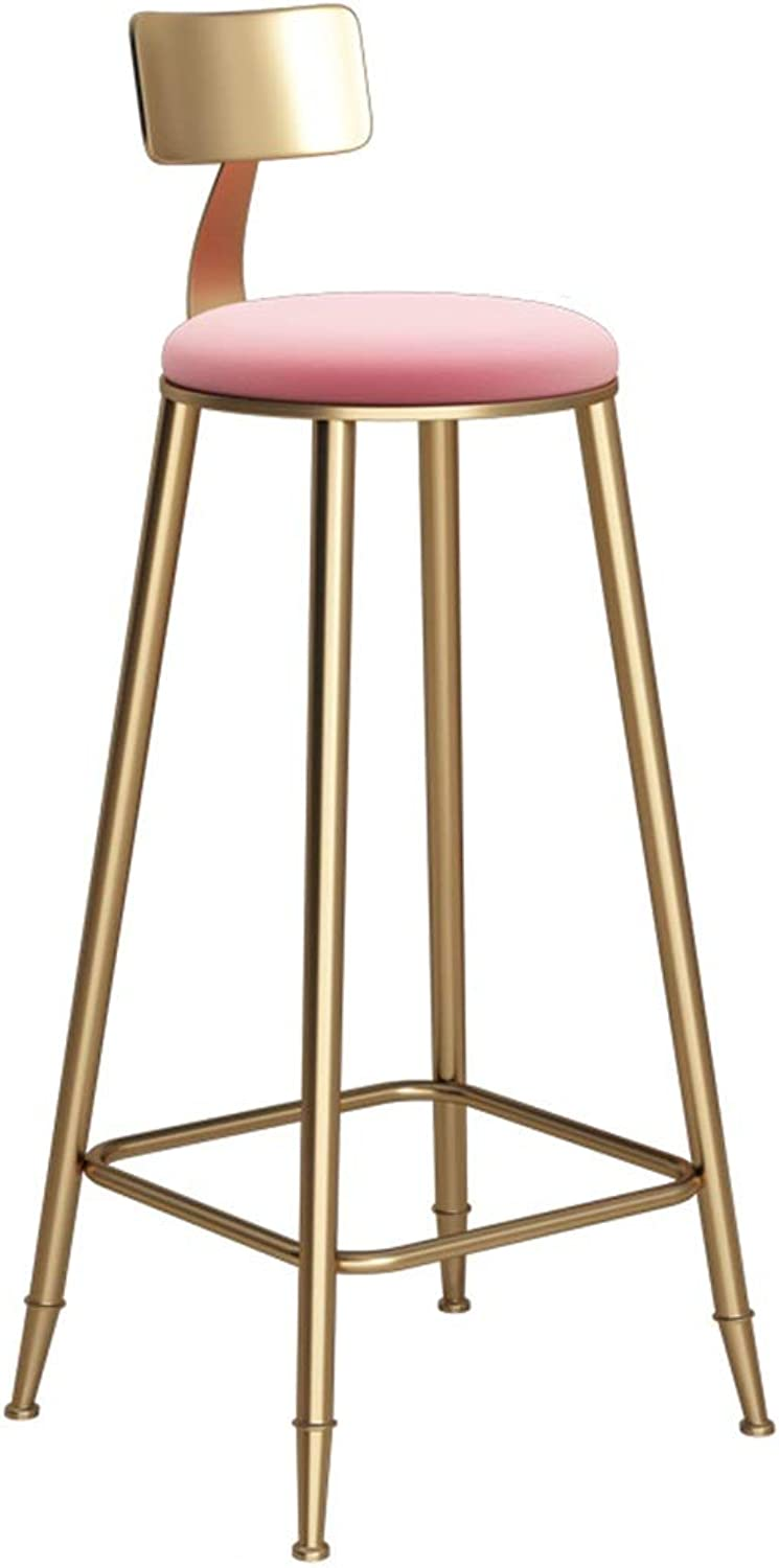 Nordic Simple Bar Stool gold Cafe High Foot Chairs Sturdy Metal Seat Soft Chair Surface for Kitchen Counter Side 0522A (color   Pink, Size   Seat Height 85cm)