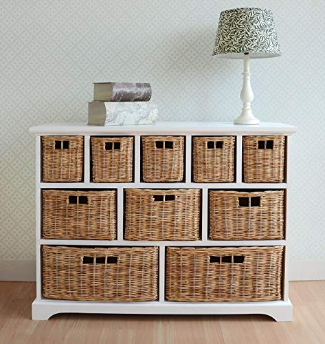 Tetbury Wide Storage Chest of drawers with Wicker Baskets. Very solid basket storage unit. Generously sized. FULLY ASSEMBLED