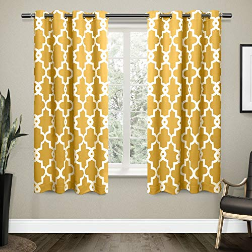 Exclusive Home Curtains Ironwork Sateen Woven Blackout Grommet Top Curtain Panel Pair, 52x63, Sundress Yellow, 2 Count