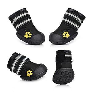 Magic Zone étanche pour animal domestique Bottes Bottes pour chien pour chiens de taille Différentes Labrador Husky Paw protecteurs Chaussures 4pcs