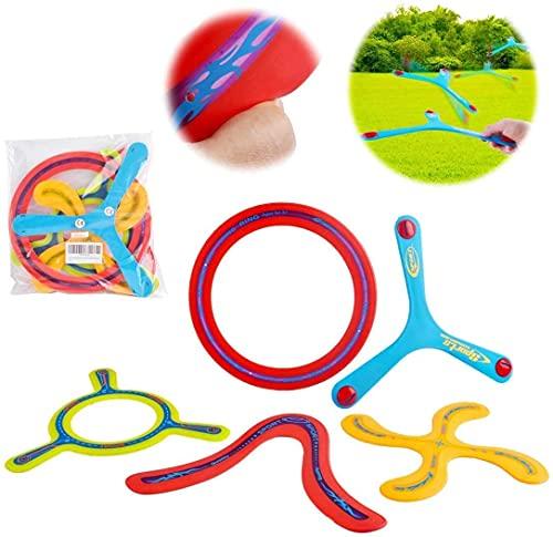 deAO 5-teiliges buntes Rückkehr Boomerang-Sportspielzeug für Anfänger und Junge Werfer