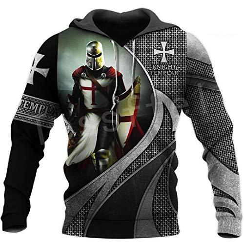 Caballero Templario Armadura Streetwear Harajuku Pullover Divertido Estampado 3D Cremallera/Sudaderas/Sudaderas/Chaqueta Hoodies 3XL