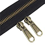 YaHoGa #5 Metal Zippers by The Yard Bulk 4 Yards + 10 pcs Sliders for Bags DIY Sewing Tailor Crafts, Without Stops (Anti-Brass Teeth)