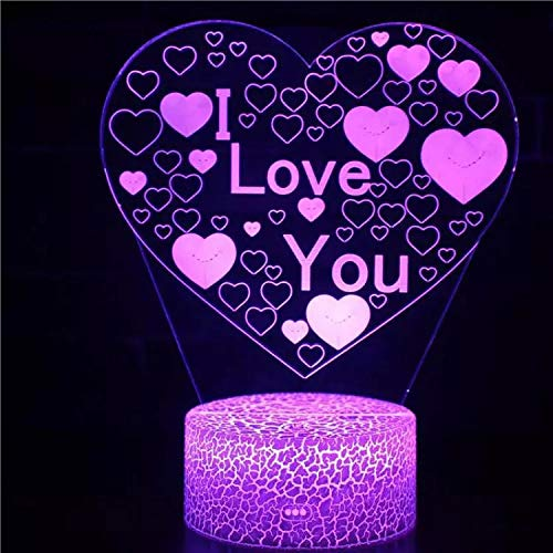 Beautiful Love Cracked Base LED Light 3D Vision Light Creative Night Light Multi-Color Night Light Acrylic Creative Decoration Small Table lamp