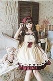 Yunbai Lolita Robe Kawaii Fille Gothique Japonais Douce Lolita Robe Vintage Dentelle Bowknot Robe Haute Taille Lolita loli loli (Color : Set, Size : Small)