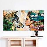 N / A Pintura sin Marco Arte de la Pared Lienzo Figura Animal Pintura para decoración del hogar Lobo y niña para Sala muralZGQ7079 60x120cm