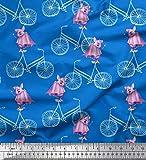 Soimoi Blau Baumwolle Ente Stoff Fahrrad & Fledermaus