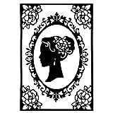 Stencil elegante con due cornici e profilo di testa di donna, compatibile con tutte le fustellatrici in commercio, perfetto per la creazione di biglietti d'auguri, inserti, bigliettini