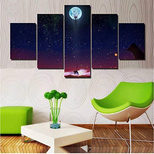 Wandkunst Drucke Bilder Home Modular 5 Stücke Evangelion Animation Poster Malerei Auf HD Leinwand Wohnzimmer Dekor Rahmen - 40cmX60cmX2 40cmX80cmX2 40cmX100cmX1