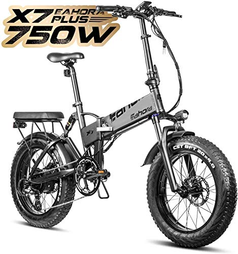 Eahora X7 750W 4.0 Fat Tire Folding Electric Bicycle 48V Hydraulic Brakes Beach Snow Electric Bike for Adults, Full Suspension, Cruise Control, 8 Speed Gears, Regeneration System Electric Scooter