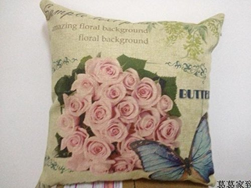 "Apexshell?(TM)?Pink rose?Cotton?Linen?Square?Decorative?Throw?Pillow?Cover?Cushion?Case?18?""X226?"""