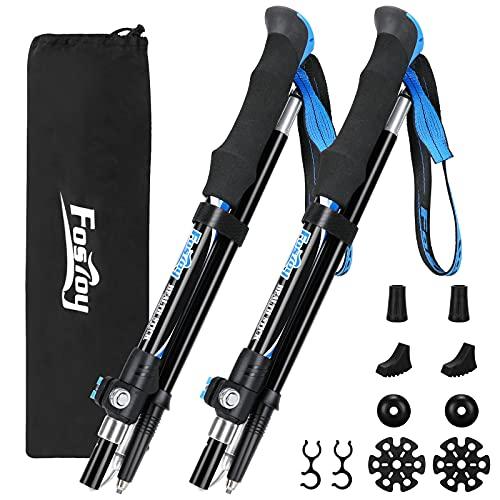 Fostoy Bastoncini da Trekking, 2 Bastoncini da Passeggio in Alluminio Leggero per Escursionismo, Campeggio, Alpinismo, Passeggiate