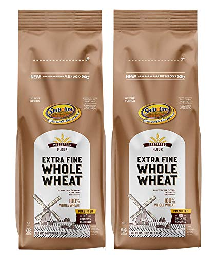 Shibolim, Extra Fine, Stone Ground Whole Wheat Flour, 48oz (2 Pack, Total 6 Pounds ) Resealable Bag, 100% Whole Grain, Presifted, A Premium Quality Product
