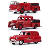 Juguete Modelo de camión de Bomberos,3 Piezas/Set Coches Modelo de camión de Bomberos, Estilo Vintage Robusto de aleación,Juguete de vehículo de camión de Bomberos para niños de simulación(Un Estilo)