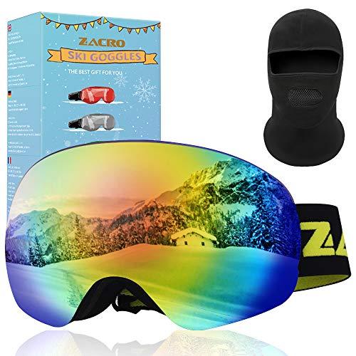 Zacro Verstellbarer Skibrille + Winddichter Kappe, Anti Fog & UV Schutz Doppelt Snowboard Brille für Damen und Herren Jungen und Mädchen, Grün