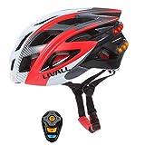 GWJNB Smart Bike Helmet, Señales De Giro Inalámbricas Luces Traseras, Altavoces Bluetooth, Micrófono Incorporado, Música Y Llamadas, Walkie-Talkie, SOS Alert Helmet,Red