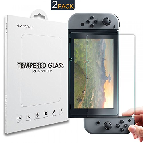 Ganvol 2Pack Nintendo Interruttore pellicole salvaschermo in Vetro temperato (Migliore Protezione per Il Nintendo Interruttore di plastica Display)