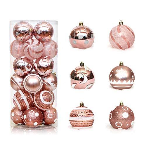 Pveath 24 adornos de bolas de Navidad, multicolor inastillables, bolas de árbol para decoración de fiestas, bodas, 6 cm, oro rosa