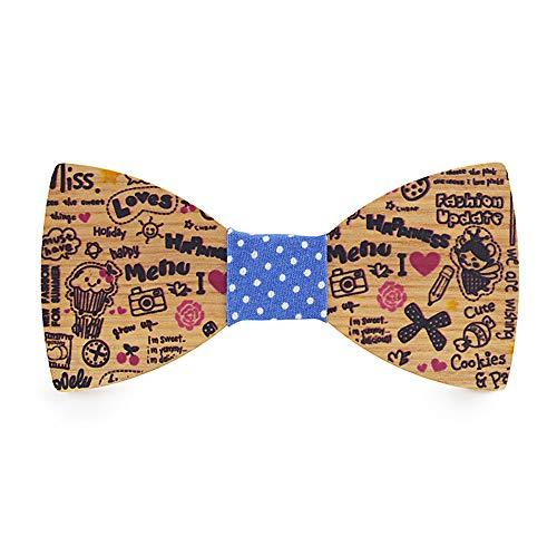 YINGJUN-Bow Tie Corbatas de Lazo Hombres Las Mujeres de los Hombres de Madera Pajarita Lindo Comic Color Impreso cumpleaños pañuelo clásico Hombres Accesorios joyería Pajarita c