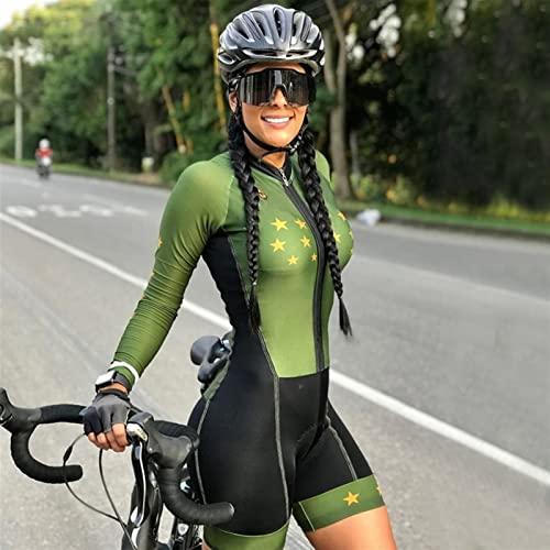 Frauen Triathlon Affe Radfahren Overall Langarm Hosen Fahrrad Jersey Sport Anzug Enge Dünne Fahrrad Skinsuit (Color : CJ183, Size : Medium)