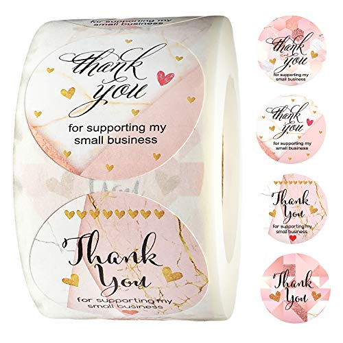 500 Pcs Thank You Stickers Roll- 1.5 inch Circle Self Adhesive 4 Designs Sweet Candy Thank You Label for Bags Envelopes Boxes Bubble Mailers Seals