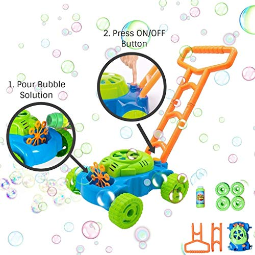 Electronic Bubble Lawn Mower for Kids - Alonea Automatic Bubble Machine with Bubble Refill Bottle Best Toys,Bubble Blower Maker for Toddlers - for Boys & Girls Ages 2-12 Years Old 60ml (Green)