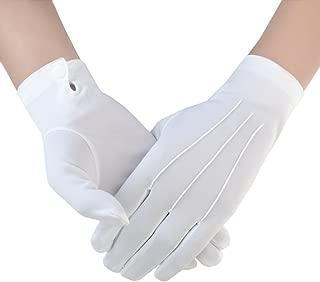 JISEN Men Police Formal Tuxedo Honor Guard Parade with Snap White Nylon Gloves 26cm