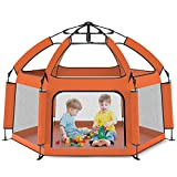 """Foldable Portable 63"""" Baby Playpen - Large playpen, Lightweight, Folding, Play Yard Crib for Indoor & Outdoor Kids Activity Center - Baby Playpen with UP Shade Cover for Any Baby or Small Child"""