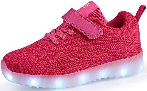 Nishiguang Kinder Jungen Mädchen LED Leuchten Schuhe USB Lade Blinken Turnschuhe Trainer Rose rot37