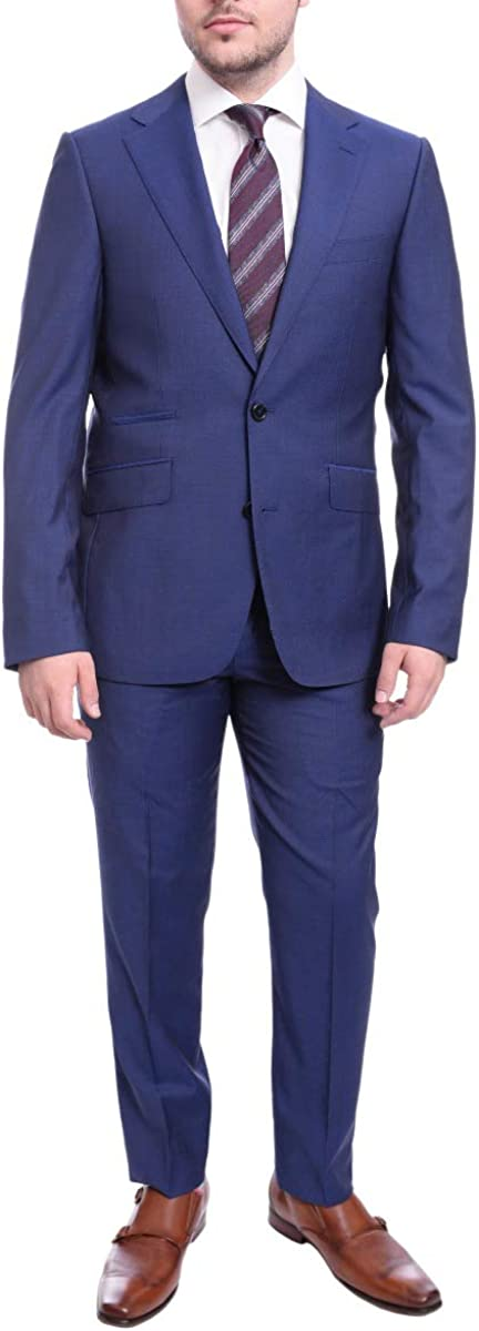 Napoli Slim Fit Solid Blue Two Button Wool Suit