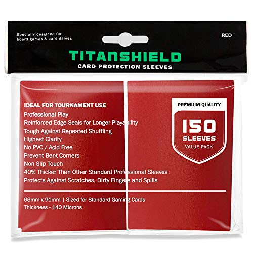 TitanShield (150 Sleeves / Red) Standard Size Trading Card Sleeves Deck Protector for Magic The Gathering MTG, Pokemon, Baseball, Dropmix