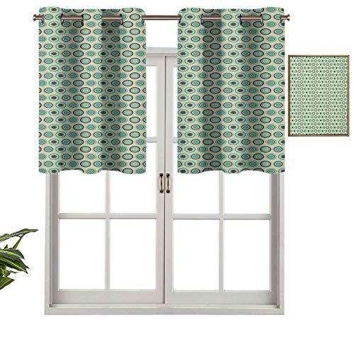 Hiiiman Cortinas con ojales para ventana, diseño de lunares en colores pastel con forma de anillo de azulejos, juego de 2, 137 x 61 cm para ventana de cocina