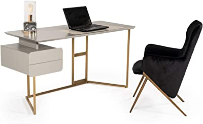 Limari Home Serafini Collection Modern Style Matte Home Office Desk With 2 Drawers & Metal Base Grey & Bronze