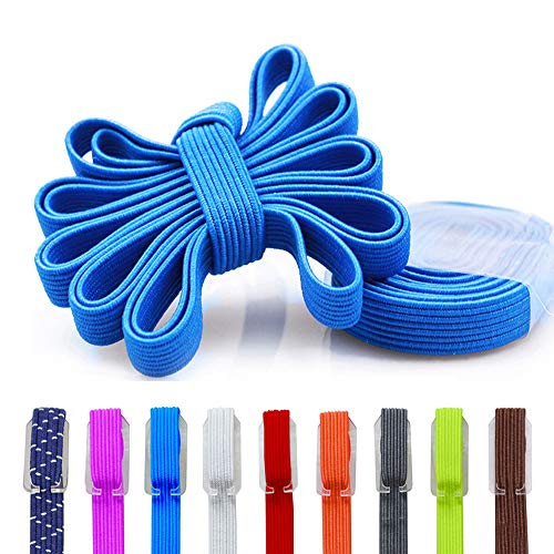 DB No Tie Shoelaces - Flat Elastic Laces with Adjustable Tension - Slip-on Any Shoes Blue Strings