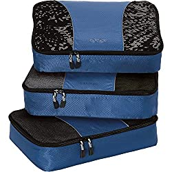 q Tropical Pattern With Skulls 3 Set Packing Cubes,2 Various Sizes Travel Luggage Packing Organizers