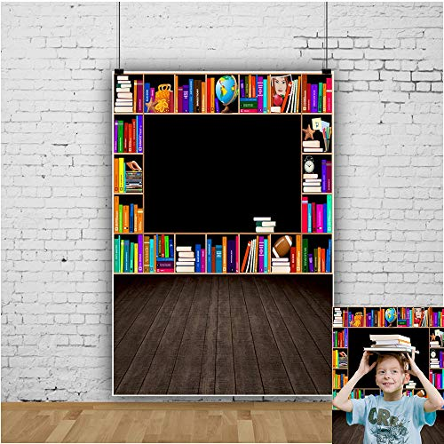 OFILA Online Class Photos Backdrop 3x5ft Polyester Fabric Bookshelf Photography Background Back to School Events Decor Kids Graduation Photos Online Teaching Video Background Classroom Photo Props