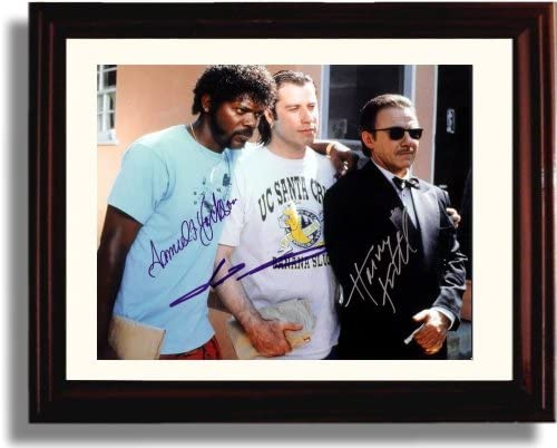 Framed Samuel L Jackson and John Travolta Autograph Replica Print Pulp Fiction Vacation Clothes product image