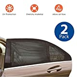 EcoNour Window Sunshade Breathable Mesh for Backseat| Protects Your Baby and Older Kids from Sun| Used as Mosquito and Bug Protection net for Your car| Rear Side Window Shade Fits Most Cars (2 Pack)