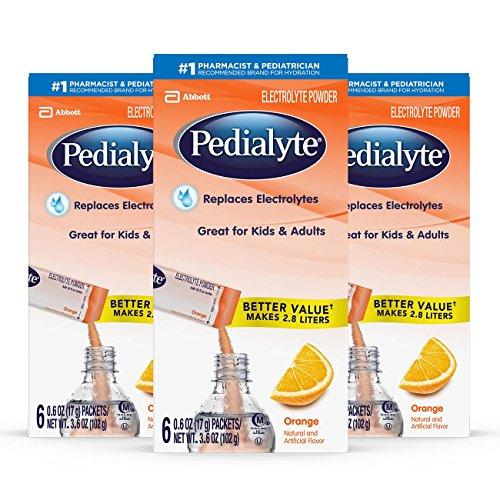 Pedialyte Electrolyte Powder, Orange, Electrolyte Hydration Drink, 0.6 oz Powder Packs, 18 Count