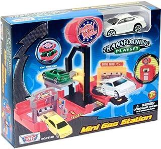 Motormax USA Mini Transforming Playset Petrol Station Die Cast Model (Multi Color MM78148)
