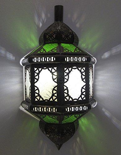 Saharashop Orientalische Wandlampe Kenitra Grün-Weiß