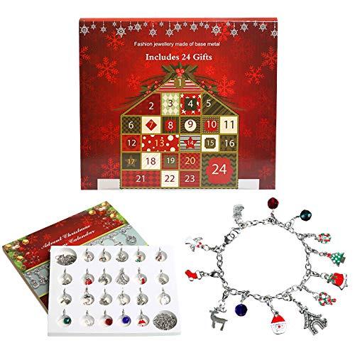 Naler Calendrier de l'avent Multicolore Noël Forme Décor de Collier Pendentif Bijoux Bracelet DIY