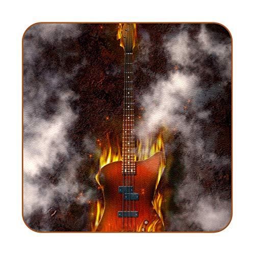 Bennigiry Flaming Bass Guitar Posavasos de Cuero Taza de café Cuadrada Taza de Vidrio Manteles Individuales Tapetes para Tazas Manteles Individuales 6 PCS