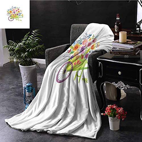 GGACEN zacht deken microvezel kruiwagen vol bloemen botanische tuinplanten landbouw aquarel kunst microvezel deken bank of reizen 60